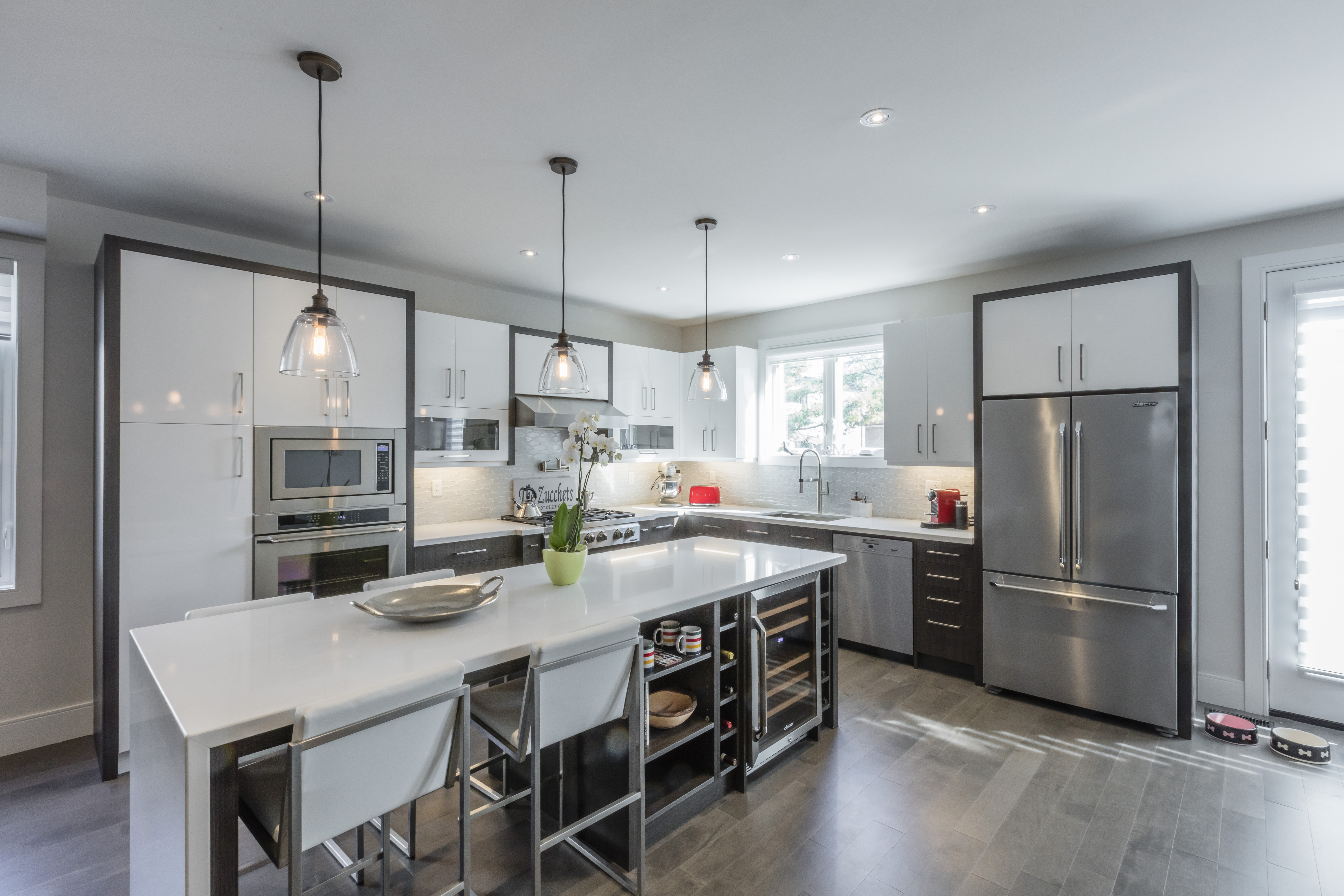 This Contemporary Two Tone White And Grey Kitchen Designed For A Young And  Active Couple. Custom Kitchen Cabinets Are By U201cTalorau201d By Decor Featured In  MDF ...