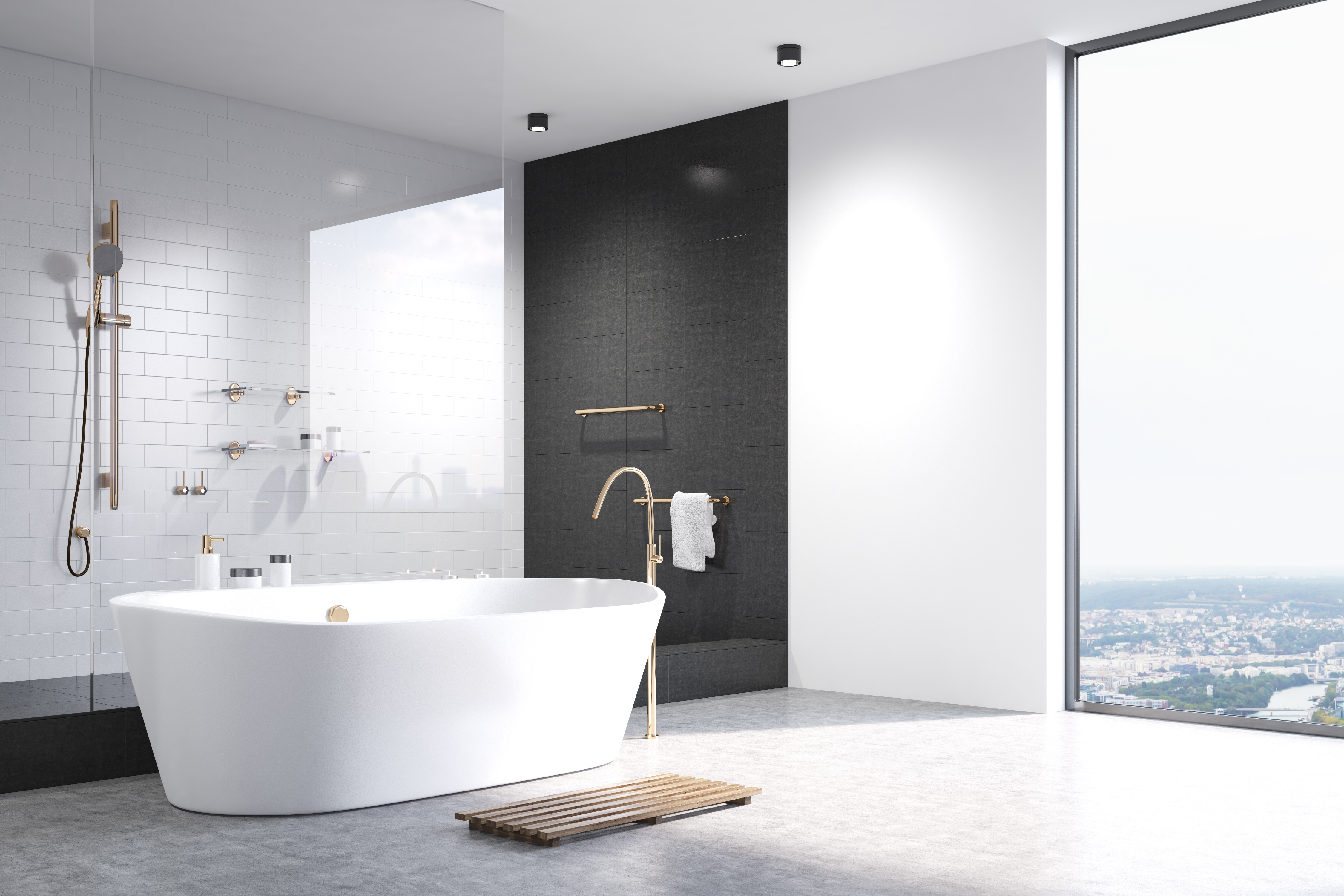 White bathroom with black tiles corner | Kitchen Land | Custom ...